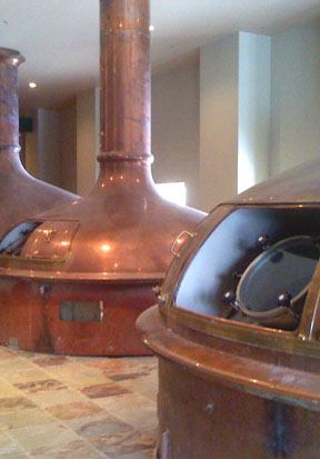 Copper brew kettles await polishing